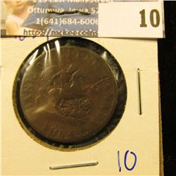 """UPPER CANADA BANK TOKEN DATED 1854 COMMONLY REFERRED TO AS THE """"DRAGON SLAYER"""" HALF PENNY"""