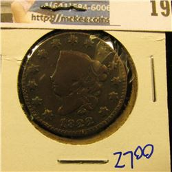 1822 CORONET HEAD LARGE CENT