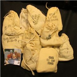 10 MINI BANK BAGS WITH UNCIRCULATED MEMORIAL PENNIES