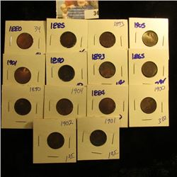 14 INDIAN HEAD PENNIES DATED 1902, 1900, 1884, 1904, 1890, 1865, 1893, 1890, 1901, 1905, 1893, 1885,
