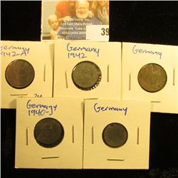 GERMAN 1, 5, AND 10 PFENNIG THIRD REICH COINS WITH SWASTIKAS