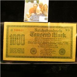 GERMAN 1000 MARK HYPERINFLATION NOTE DATED 1922