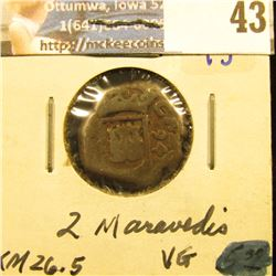 SPANISH 2 MARAVEDIS DATED 1694.  KM NUMBER 26-5.