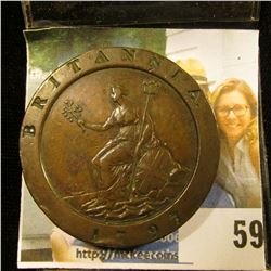 """1797 BRITISH LARGE CENT COMMONLY REFERRED TO AS THE """"CARTWHEEL """" DUE TO ITS RESEMBLANCE TO A CART'S"""