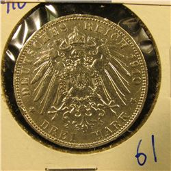 GERMAN STATES/HAMBURG SILVER 3 MARK COIN DATED 1910