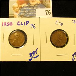 2 ERROR COINS FOR 1 MONEY.  BOTH WHEAT PENNIES HAVE A CLIPPED PLANCHETT