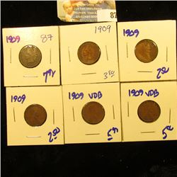 2 1909 VDB WHEAT PENNIES, 3 1909 WHEAT PENNIES. AND 1909 INDIAN HEAD PENNY