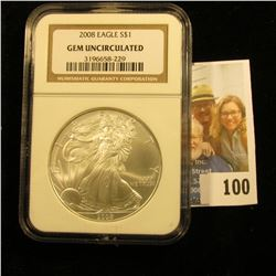 2008 AMERICAN SILVER EAGLE GRADED GEM UNCIRCULATED BY NGC