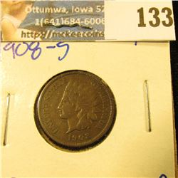 1908-S KEY DATE INDIAN HEAD PENNY… LIBERTY IS VISIBLE ON THIS ONE PLUS THE FEATHERS HAVE SOME DETAIL