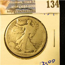1916-D KEY DATE WALKING LIBERTY HALF DOLLAR WITH OBVERSE MINT MARK.