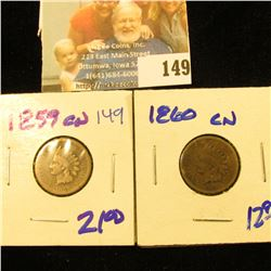 1859 COPPER NICKEL AND 1860 COPPER NICKEL INDIAN HEAD PENNY