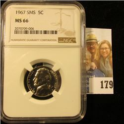 1967 JEFFERSON NICKEL GRADED MS66 BY NGC FROM A SPECIAL MINT SET