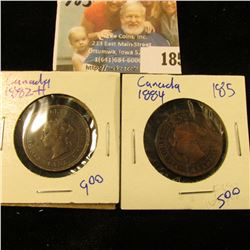 1882-H AND 1884 CANADIAN LARGE CENTS