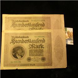 (2) ONE HUNDRED THOUSAND MARK NOTES FROM GERMANY DATED 1923