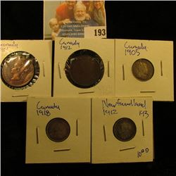 MISCELLANEOUS CANADIAN COIN LOT INCLUDES 1905 AND 1918 CANADIAN SILVER DIMES, 1901 &1912 CANADIAN LA