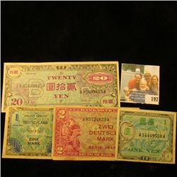 2 GERMAN AND 2 JAPANESE MILITARY PAYMENT CERTIFICATES