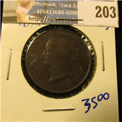 1836 NOVA SCOTIA PENNY KM NUMBER 6.  THIS COIN HAS NICE DETAILS.  IT HAS FULL RIMS AND QUEEN VICTORI