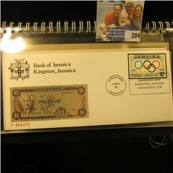 BANK OF JAMAICA FIRST DAY COVER STAMP AND CURRENCY SET