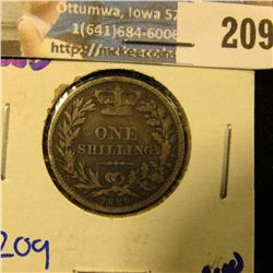 1880 BRITISH ONE SHILLING SILVER COIN