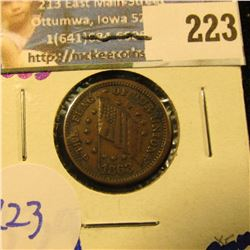 "1863 CIVIL WAR TOKEN .  ON THE FRONT IT SAYS "" THE FLAG OF OUR UNION"".  ON THE REVERSE IT SAYS "" IF"