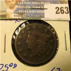 1833 CORONET HEAD LARGE CENT WITH ALL THE LETTERS IN LIBERTY VISIBLE