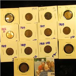 WHEAT PENNY LOT INCLUDES 1909VDB, 5 1909 WHEATS, 1919-S, 1929, 1914, 1958-D, 1935-D, 1926-D, AND 193