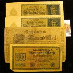 TWO GERMAN 1000 MARK NOTES AND  TWO 10,000 MARK NOTES