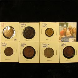 COINS FROM INDIA COIN COLLECTION INCLUDES 1936 QUARTER ANNA, 1953 ONE PICE, 1943 HALF ANNA, 1907 QUA