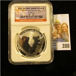 2011-P SILVER ONE OUNCE KOAL GRADED MS70 BY NGC.  IT IS ONE OF THE FIRST 20,000 STRUCK