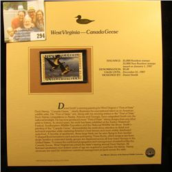 WEST VIRGINIA-CANADA GEESE STAMP.  THIS STAMP WAS ISSUED ON JANUARY 1ST 1987.  THERE WERE A TOTAL OF