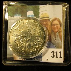 "2000 Republic of Liberia $5 Commemorative ""Discovery of America 1492 Columbus"", Gem BU, encapsulated"
