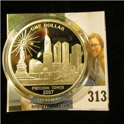 """2007 Cook Islands One Dollar """"Freedom Tower/We Will Never Forget"""", 39mm Proof, encapsulated."""