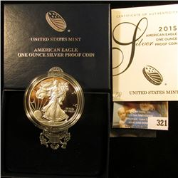 "2015 W ""American Eagle One Ounce Silver Proof Coin"", Silver Dollar in original case with COA. Struck"