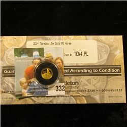 2014 Tokelau .5g Gold $5 Horse. Proof Like. In a Littleton Coin Company holder.