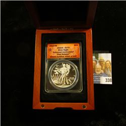 """2013 W United States Silver Eagle slabbed by ANACS and in cherry wood box """"Enhanced Uncirculated Fir"""