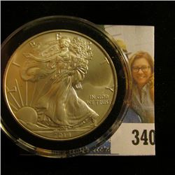 2014 U.S. Silver American Eagle One Dollar .999 Fine Silver. Gem BU. Encapsulated.