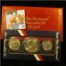 1776-1976 S U.S. Silver Three-Piece Bicentennial Coin Set in original red envelope and cellophane ho