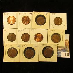 1968S, 69P, S, 70S, 71S, 72S, 73S, 74S, 1983D, 87D, & 2008D Lincoln Cents.