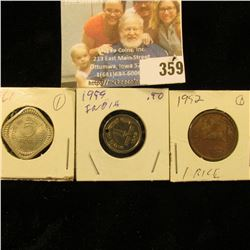 1952 & 1959 One Rice (holed)  & 1961 Five Rice India Coins.