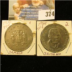 1975 & 84 Jamaica Fifty Centavos.