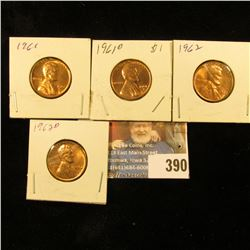 1961P, D, 62P, & D Red Gem BU Lincoln Cents.