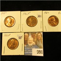 1963P, D, 64P, & D Red Gem BU Lincoln Cents.