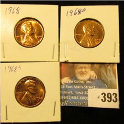 1968 P, D, & S Red Gem BU Lincoln Cents.