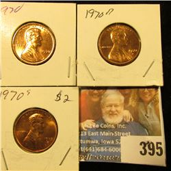 1970 P, D, & S Red Gem BU Lincoln Cents.