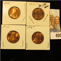 1975 P, D, 76 P, & D Red Gem BU Lincoln Cents.