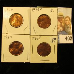 1979 P, D, 80 P, & D Red Gem BU Lincoln Cents.