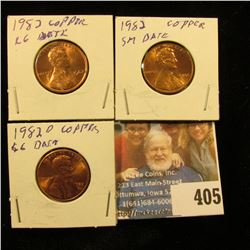 1982 P small & large date Copper & 82 D large date Copper Lincoln Cents. Red Gem BU.