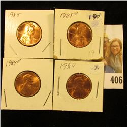 1984 P, D, 85 P, & D Red Gem BU Lincoln Cents.