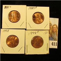 1997 P, D, 98 P, D Red Gem BU Lincoln Cents.