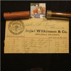 """August 13, 1885 Invoice """"Bought of Wlkinson & Co. Whoelsale Druggists…Keokuk, Iowa""""; & a pair of 195"""
